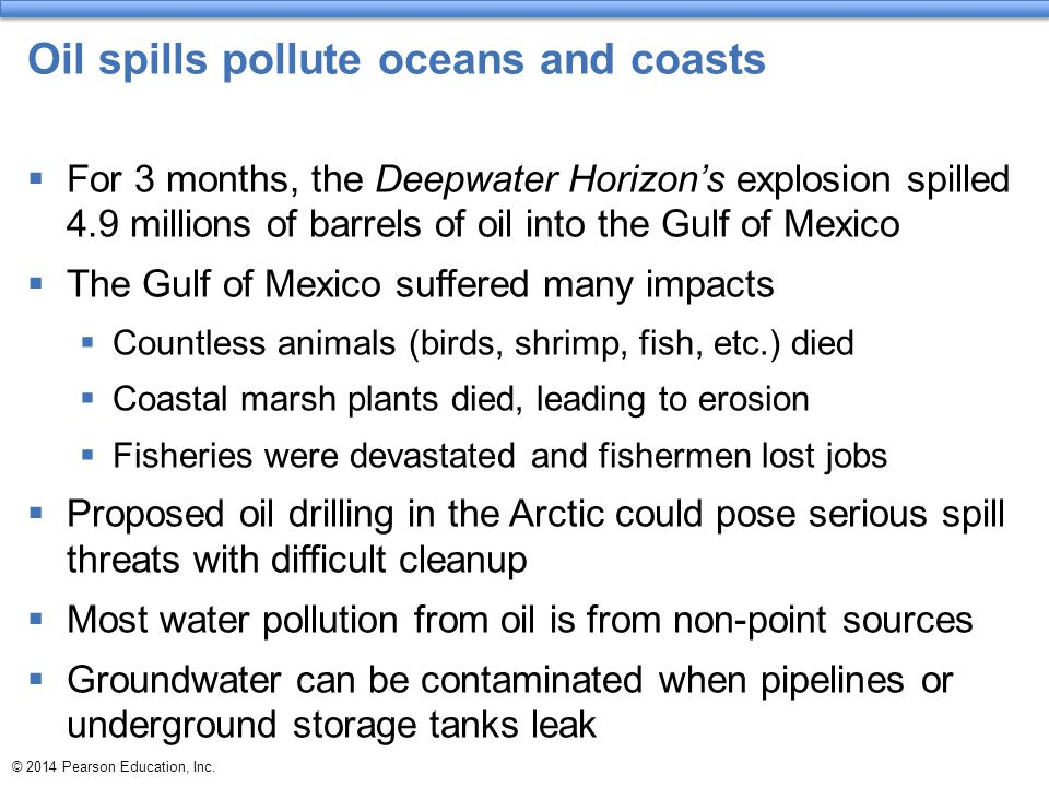 Oil spills pollute oceans and coasts