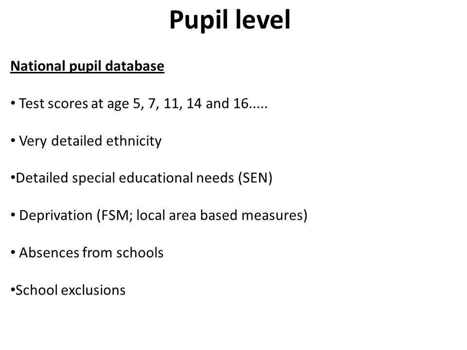 Pupil level National pupil database