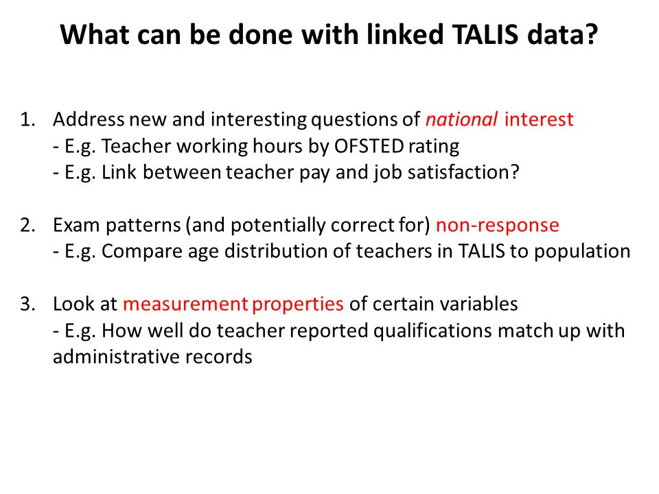 What can be done with linked TALIS data