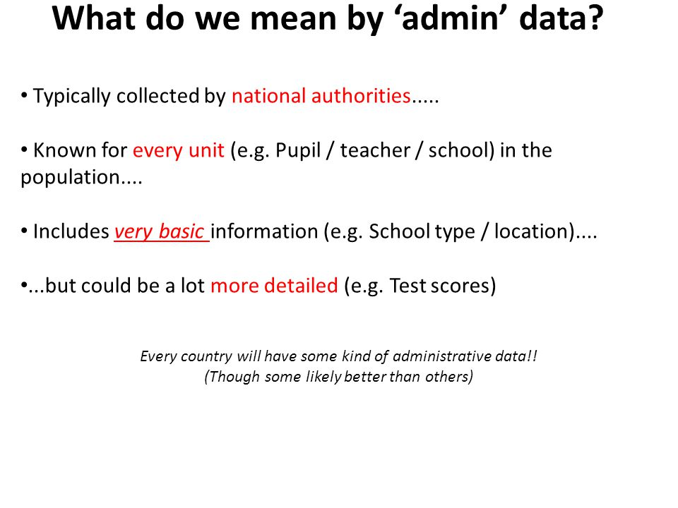 What do we mean by 'admin' data