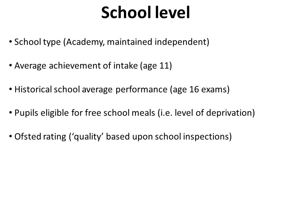 School level School type (Academy, maintained independent)