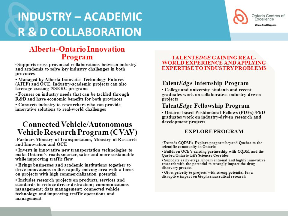 INDUSTRY – ACADEMIC R & D COLLABORATION