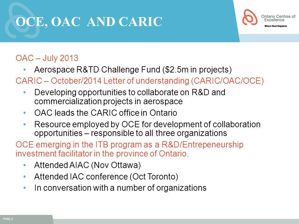 OCE, oac AND CARIC OAC – July 2013