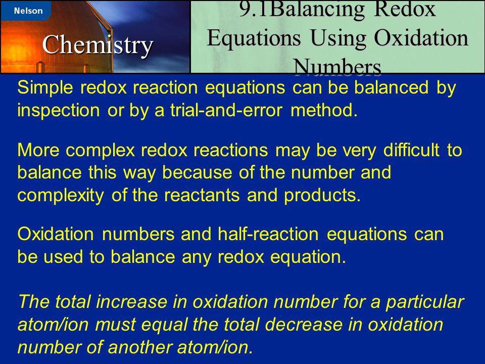 9.1Balancing Redox Equations Using Oxidation Numbers