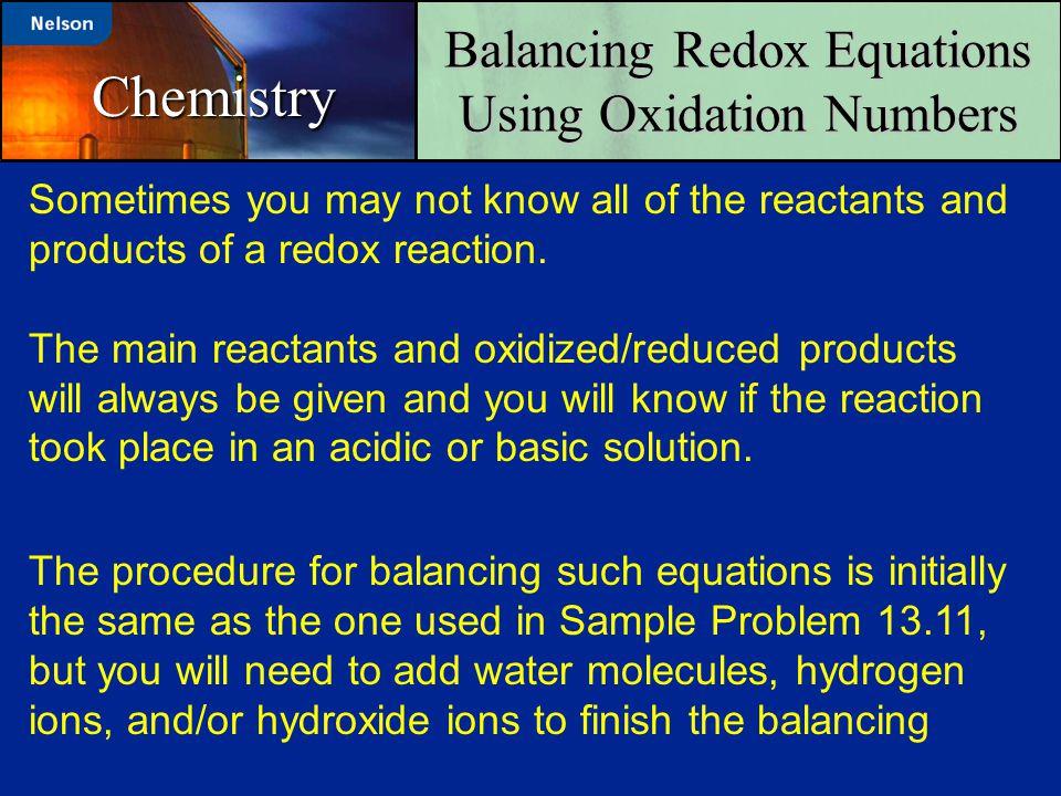 Balancing Redox Equations Using Oxidation Numbers