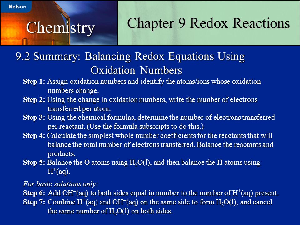 9.2 Summary: Balancing Redox Equations Using Oxidation Numbers