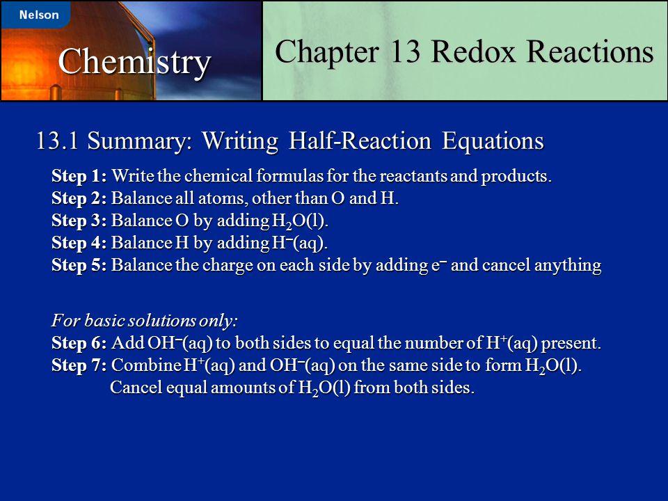 13.1 Summary: Writing Half-Reaction Equations
