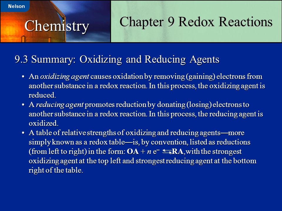 9.3 Summary: Oxidizing and Reducing Agents