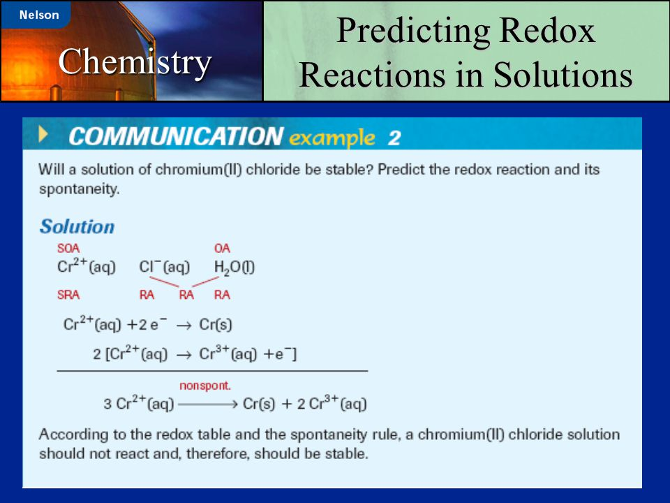Predicting Redox Reactions in Solutions