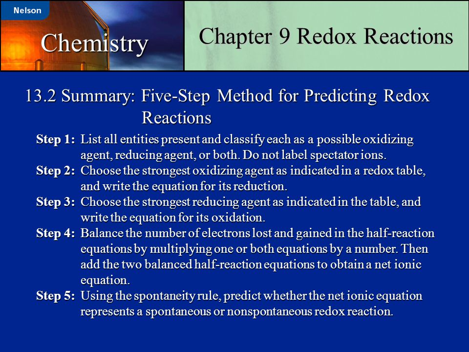 13.2 Summary: Five-Step Method for Predicting Redox Reactions