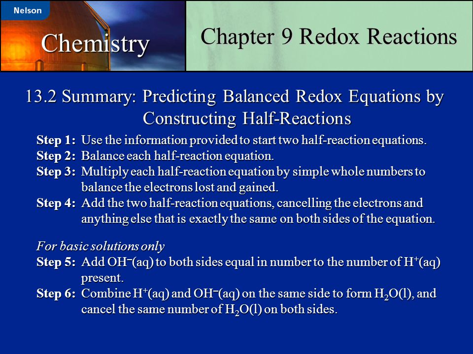 Chapter 9 Redox Reactions