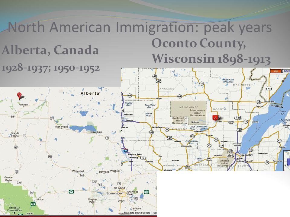 North American Immigration: peak years
