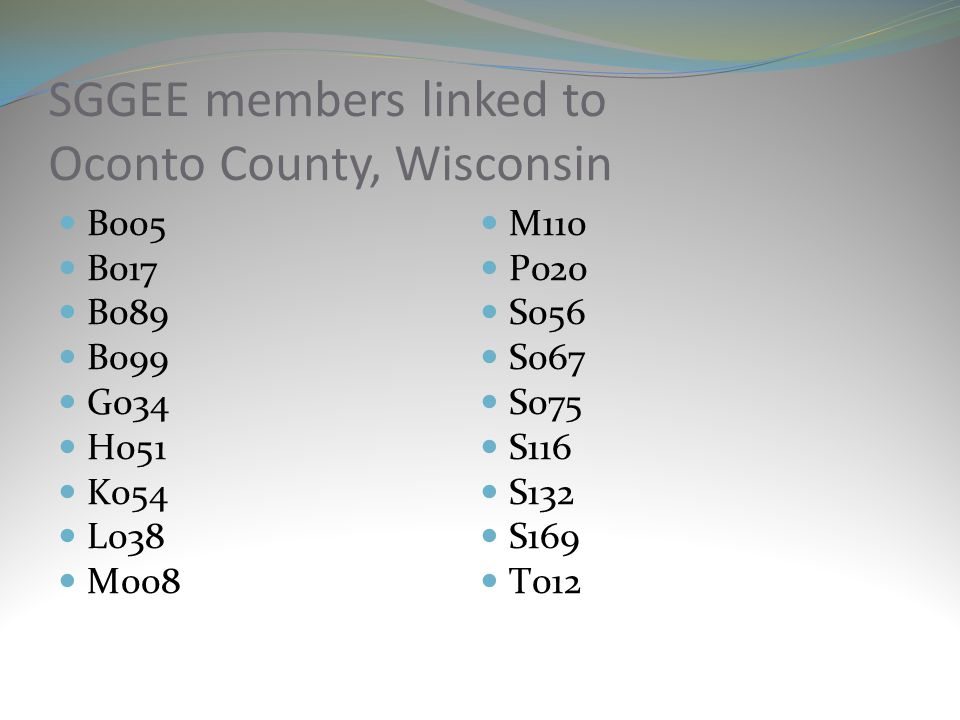 SGGEE members linked to Oconto County, Wisconsin