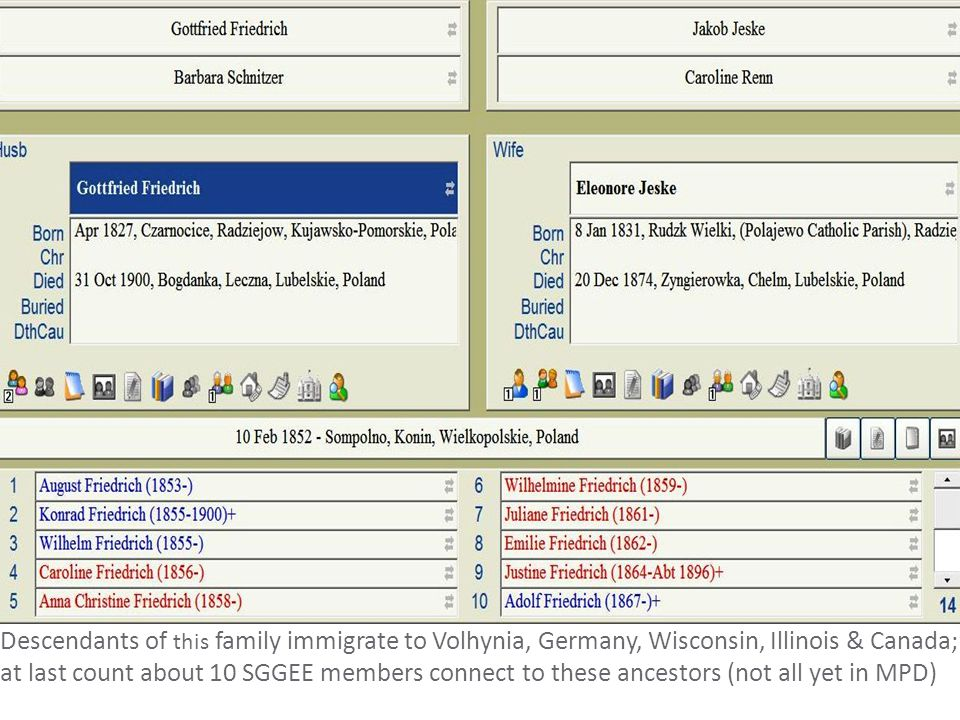 Descendants of this family immigrate to Volhynia, Germany, Wisconsin, Illinois & Canada; at last count about 10 SGGEE members connect to these ancestors (not all yet in MPD)
