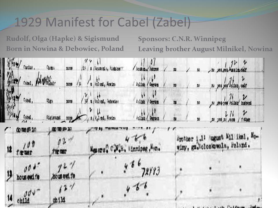 1929 Manifest for Cabel (Zabel)
