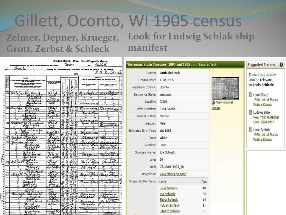 Gillett, Oconto, WI 1905 census