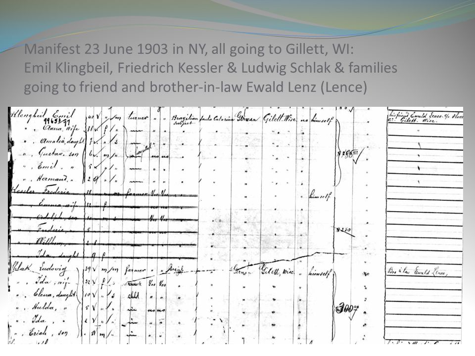 Manifest 23 June 1903 in NY, all going to Gillett, WI: Emil Klingbeil, Friedrich Kessler & Ludwig Schlak & families going to friend and brother-in-law Ewald Lenz (Lence)
