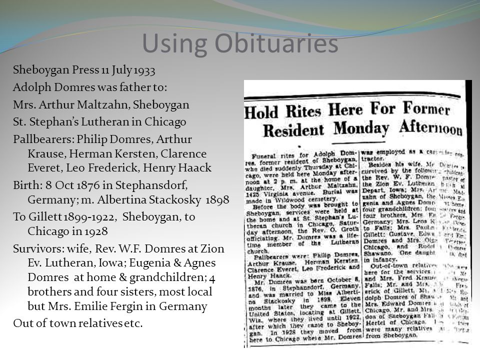 Using Obituaries
