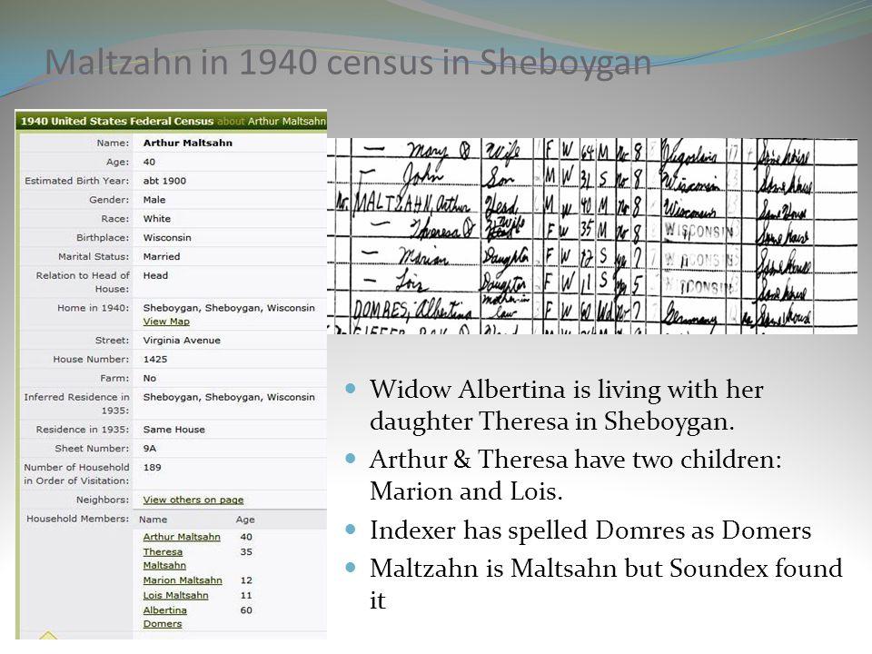 Maltzahn in 1940 census in Sheboygan
