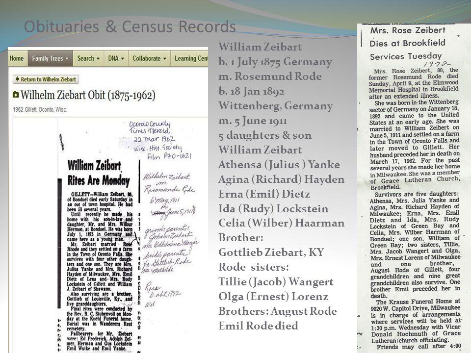 Obituaries & Census Records