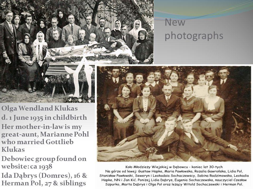 New photographs Olga Wendland Klukas d. 1 June 1935 in childbirth