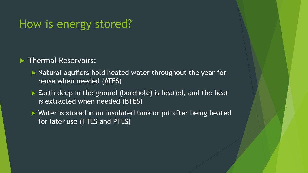 How is energy stored Thermal Reservoirs: