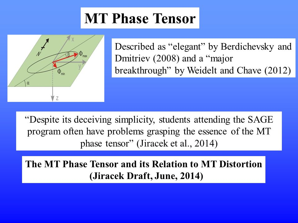 MT Phase Tensor Described as elegant by Berdichevsky and Dmitriev (2008) and a major breakthrough by Weidelt and Chave (2012)