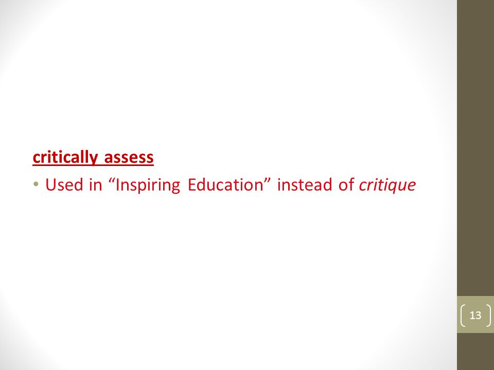 critically assess Used in Inspiring Education instead of critique