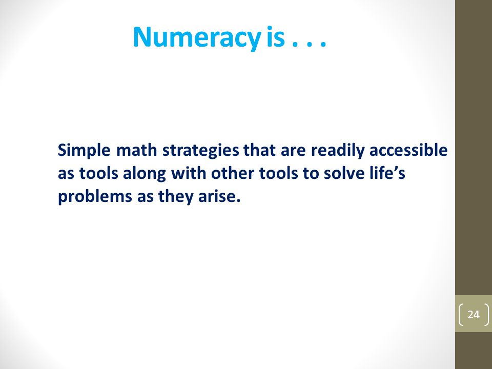 Numeracy is .