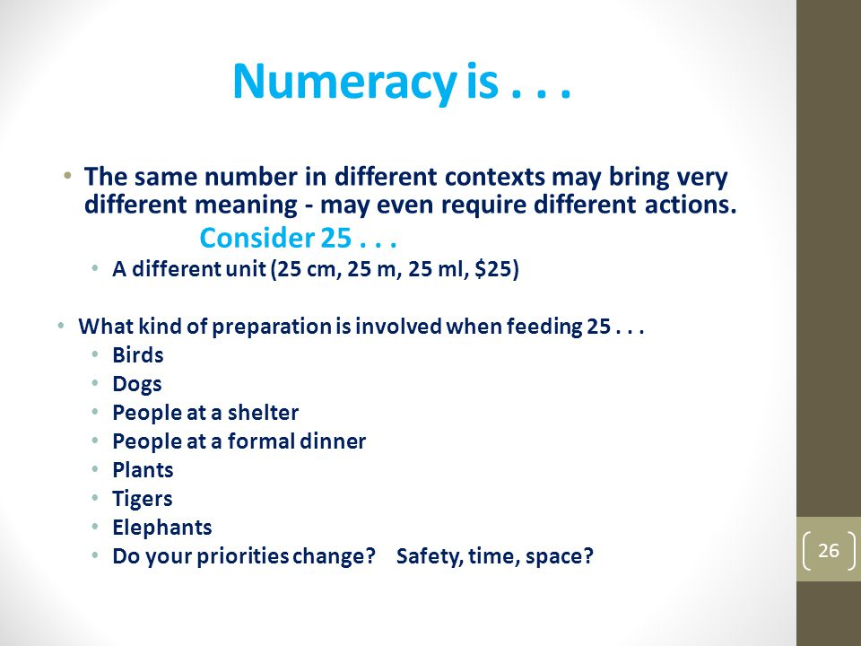Numeracy is . . . The same number in different contexts may bring very different meaning - may even require different actions.