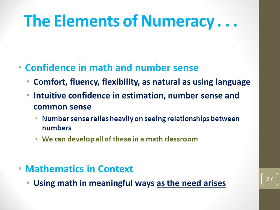 The Elements of Numeracy . . .