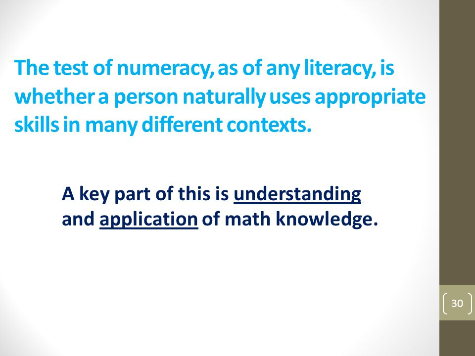 The test of numeracy, as of any literacy, is whether a person naturally uses appropriate skills in many different contexts.
