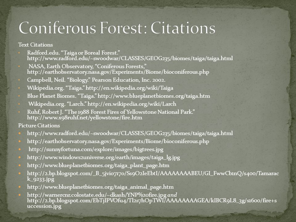 Coniferous Forest: Citations