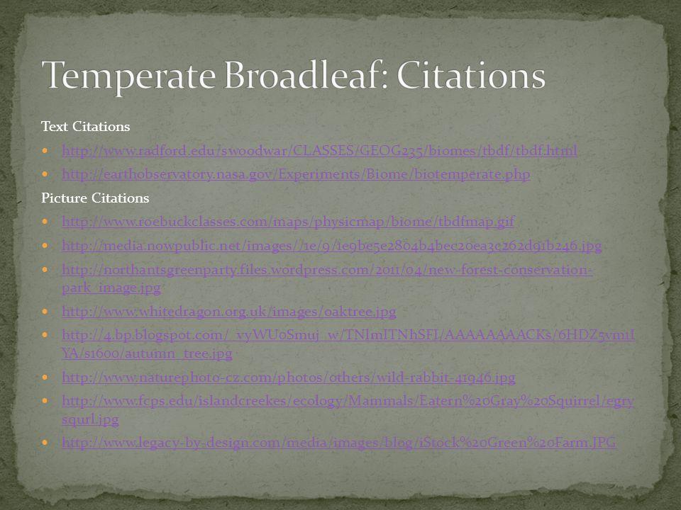 Temperate Broadleaf: Citations