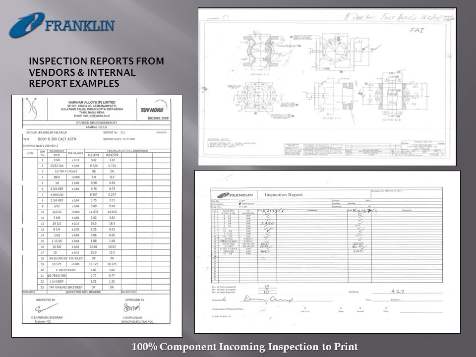 INSPECTION REPORTS FROM VENDORS & INTERNAL REPORT EXAMPLES