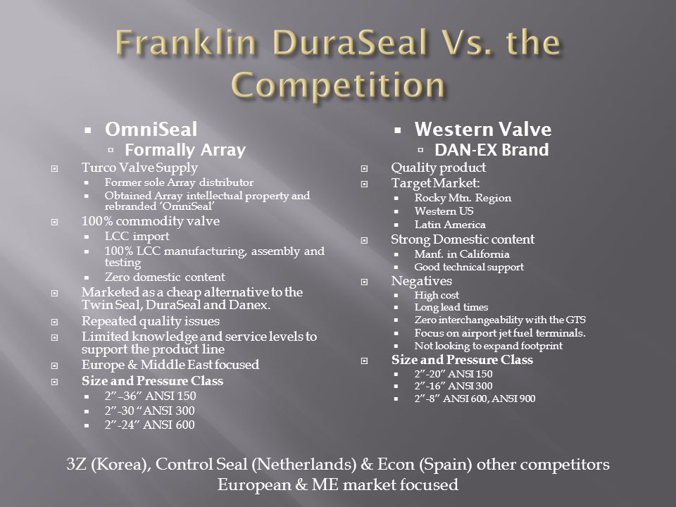Franklin DuraSeal Vs. the Competition