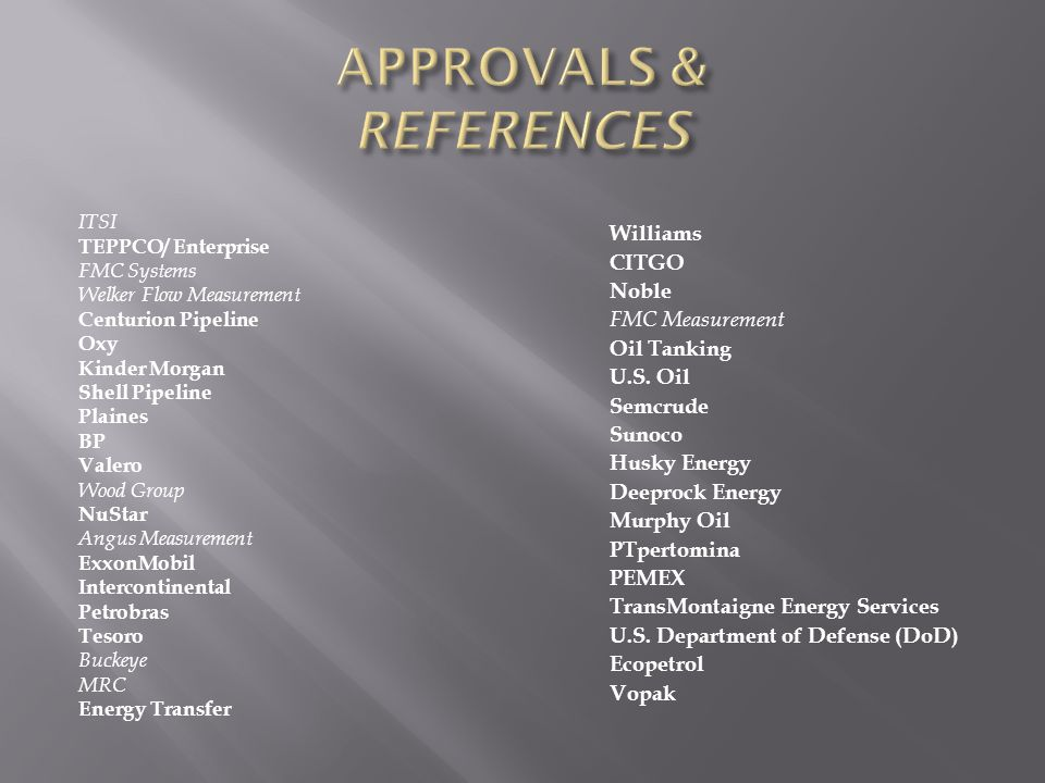 APPROVALS & REFERENCES