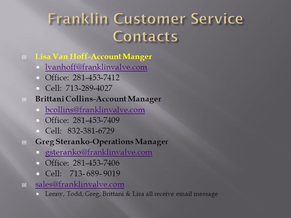 Franklin Customer Service Contacts