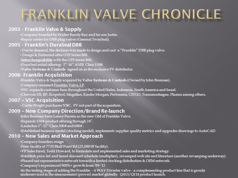Franklin Valve chronicle