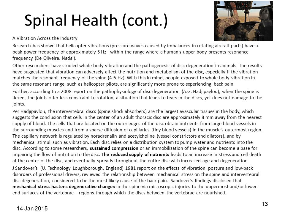 Spinal Health (cont.) 14 Jan 2015
