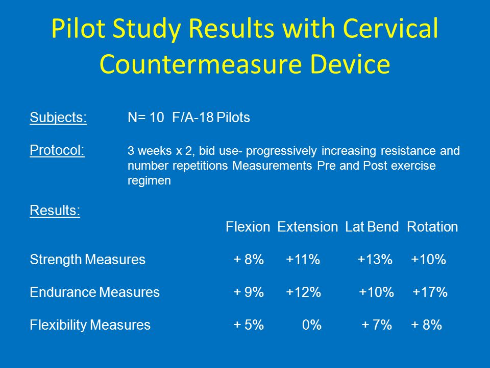 Pilot Study Results with Cervical Countermeasure Device