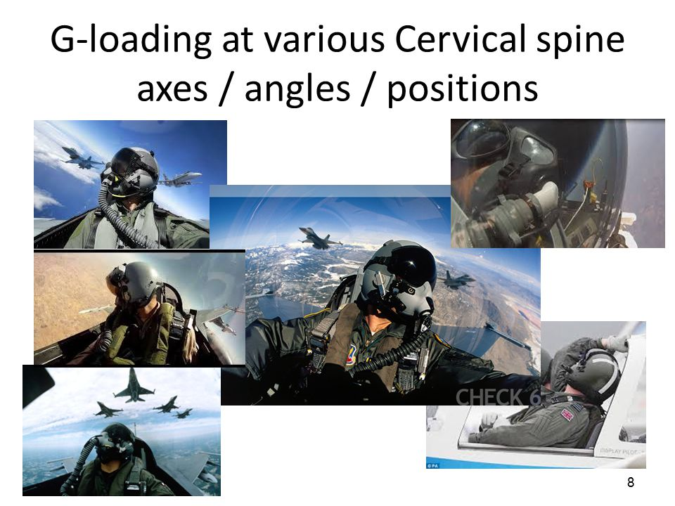 G-loading at various Cervical spine axes / angles / positions