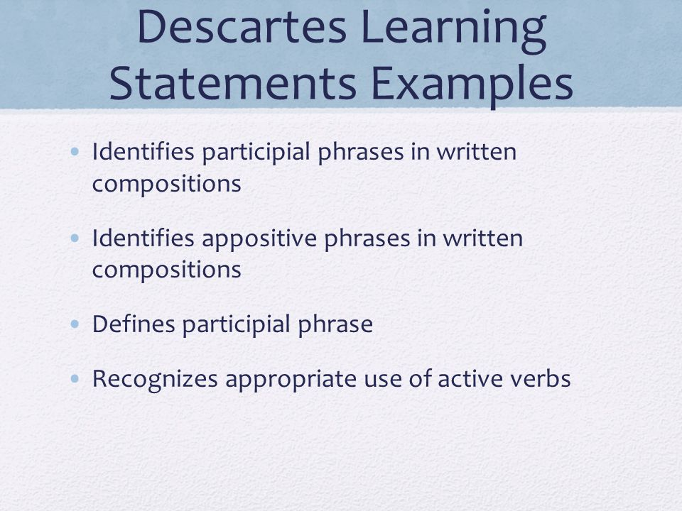 Descartes Learning Statements Examples