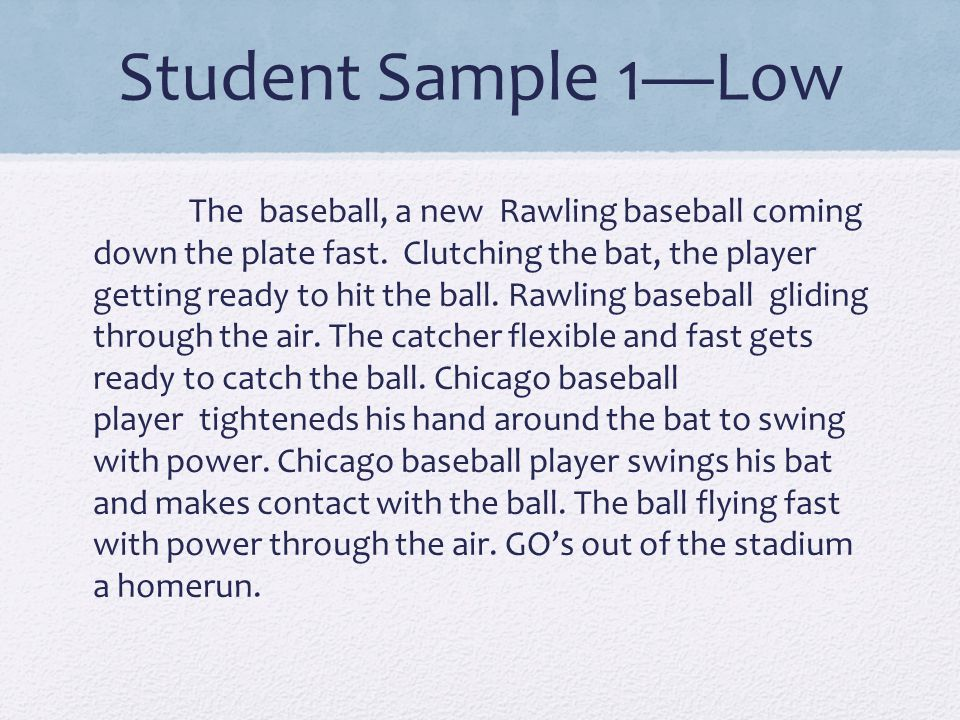 Student Sample 1—Low