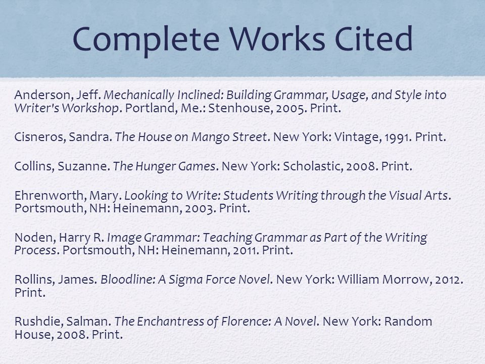 Complete Works Cited