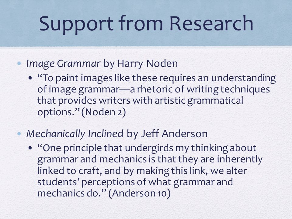 Support from Research Image Grammar by Harry Noden