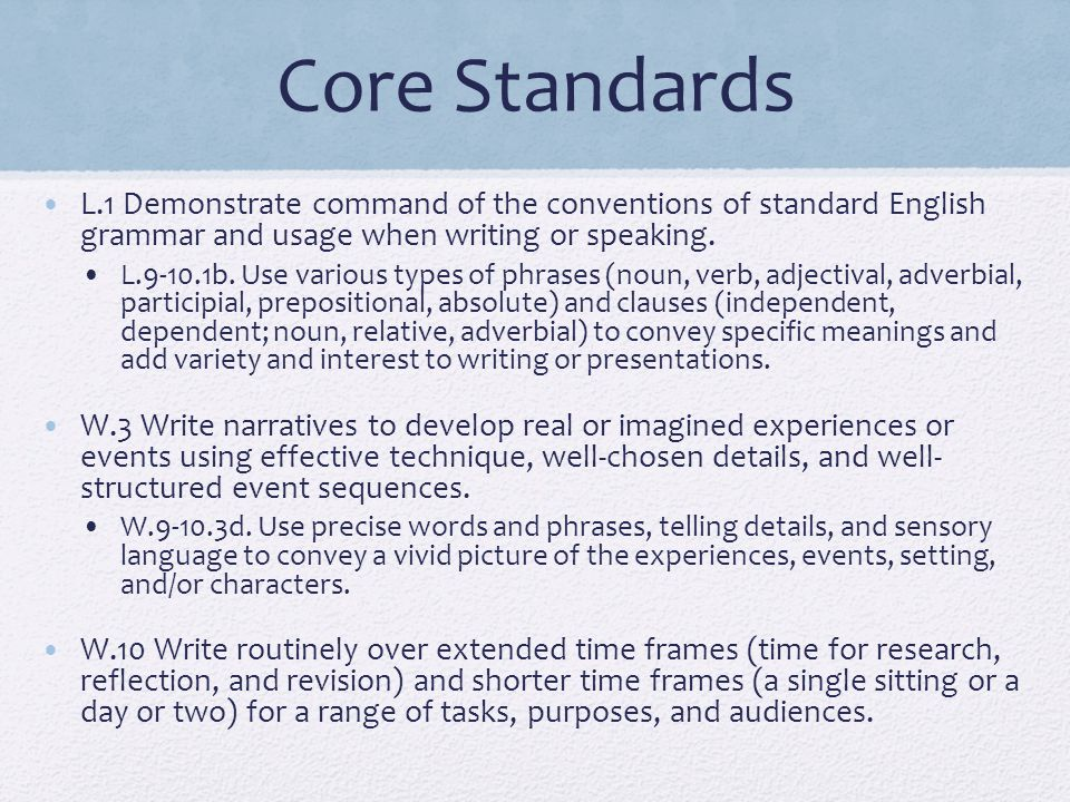 Core Standards L.1 Demonstrate command of the conventions of standard English grammar and usage when writing or speaking.