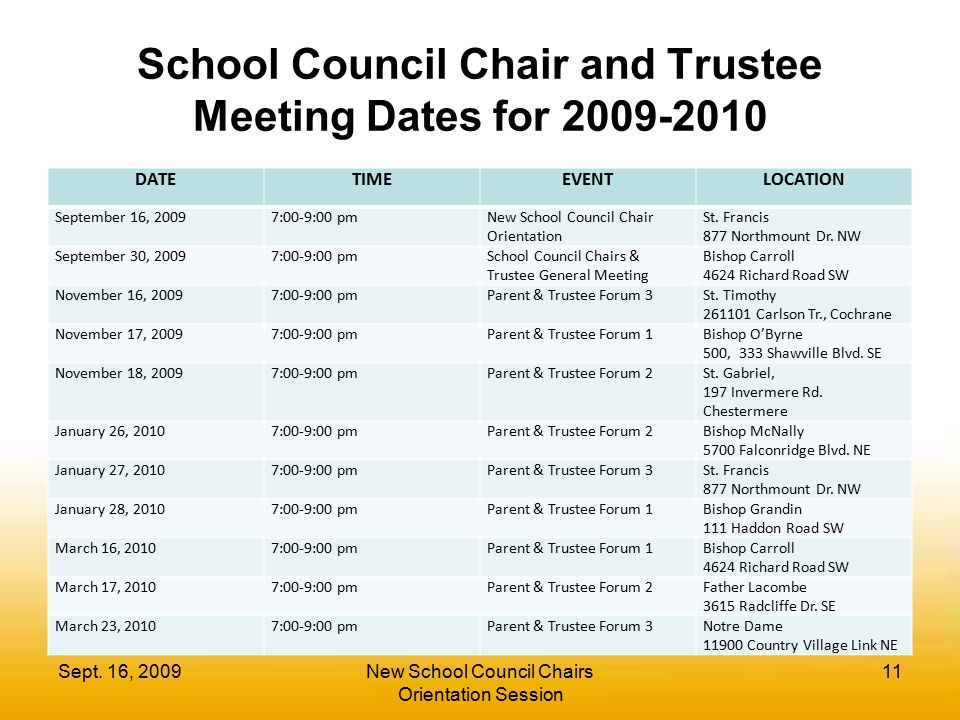 School Council Chair and Trustee Meeting Dates for 2009-2010