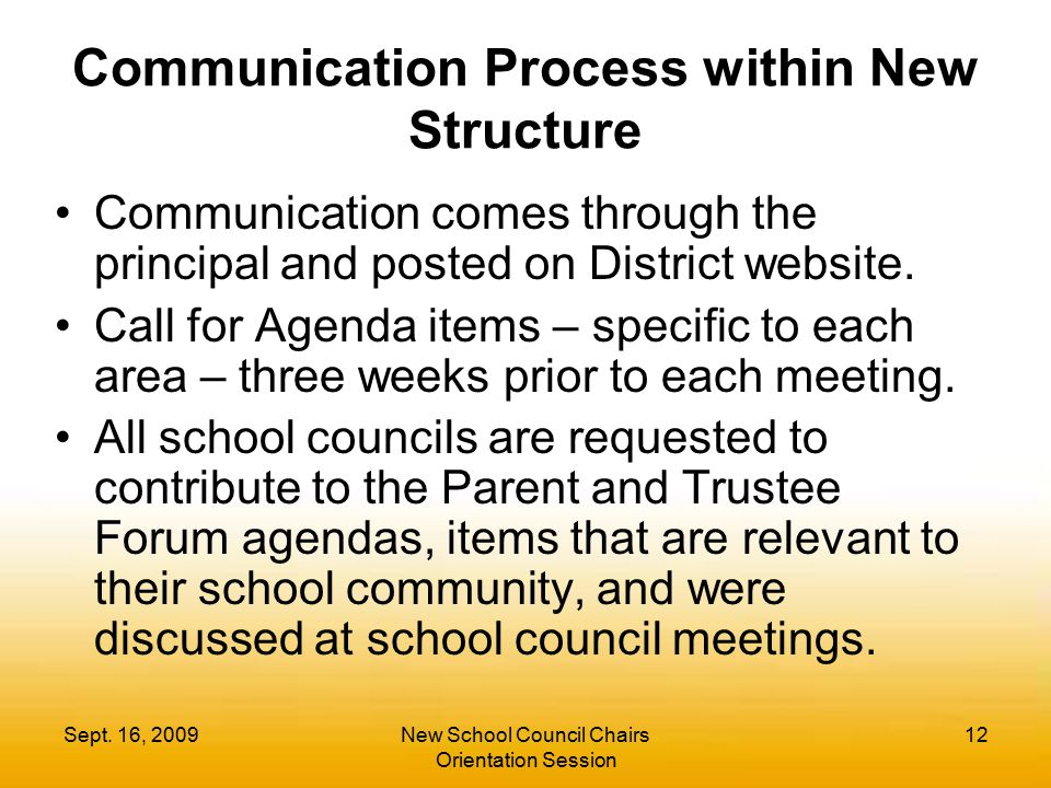 Communication Process within New Structure