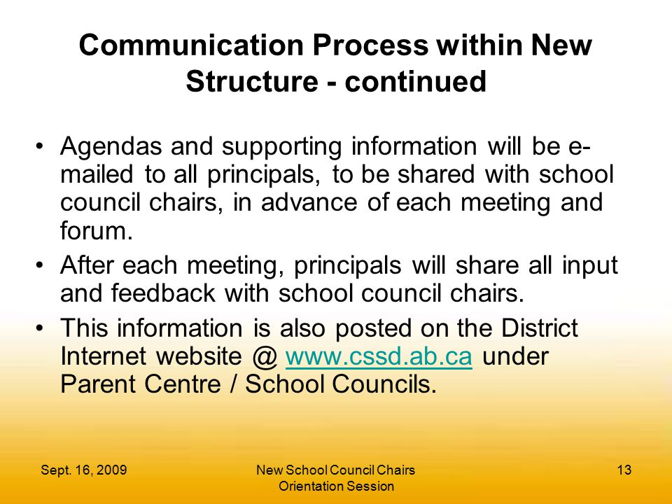 Communication Process within New Structure - continued